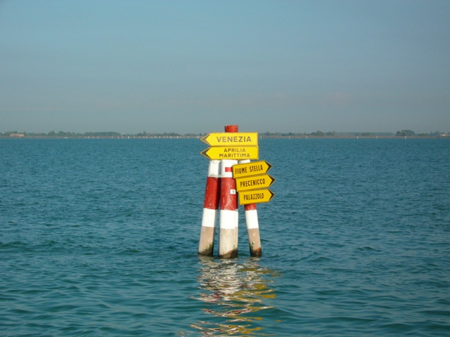 Road signs in the lagoon